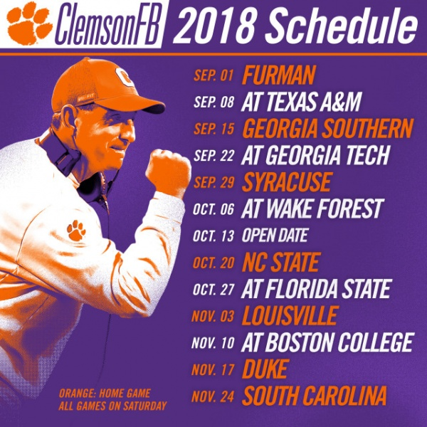 2018 Football Schedule Announced
