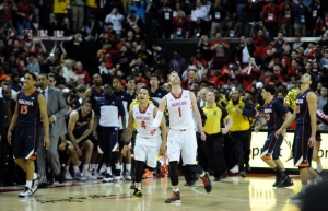 Evan Smotrycz (1) hit both of his three-point attempts and shot 5-7 from the floor as he helped Seth Allen (4) and the Terps to a win in their final ACC home game.