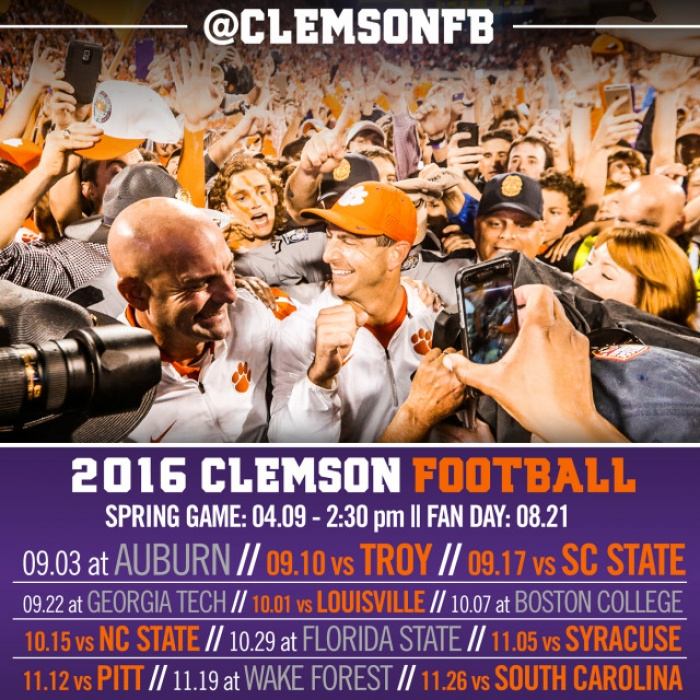 Clemson 2016 Football Schedule Announced