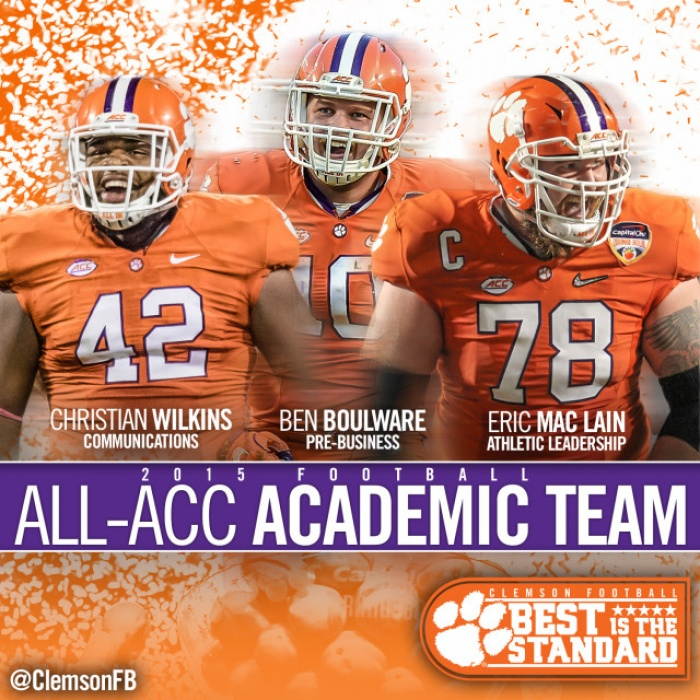 Boulware, Mac Lain and Wilkins Named Academic All-ACC