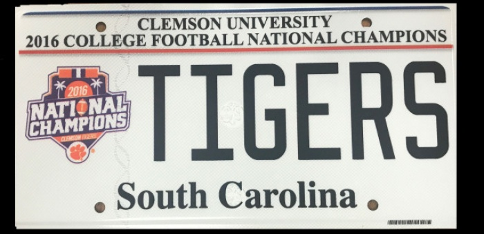 National Championship License Plate Available Through SC DMV
