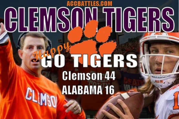 CFB National Championship Score Update Clemson 44 - Alabama 16