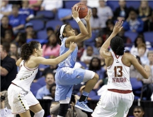 Latifah Coleman scored 17 second-half points to send the Tar Heels into tomorrow's ACC Finals.