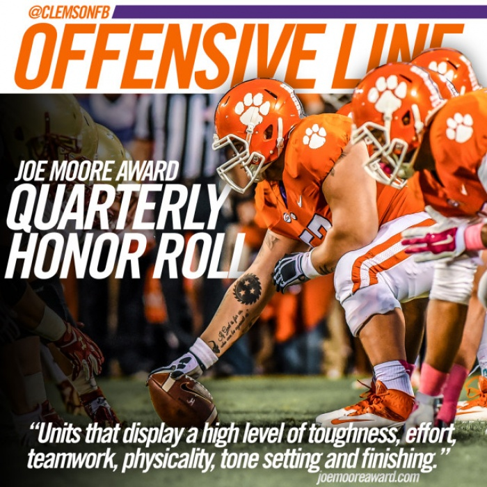 Clemson Offensive Line Honored by Moore Award