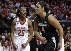 Alyssa Thomas celebrates a block in the first half of Maryland's big win over Michigan State.