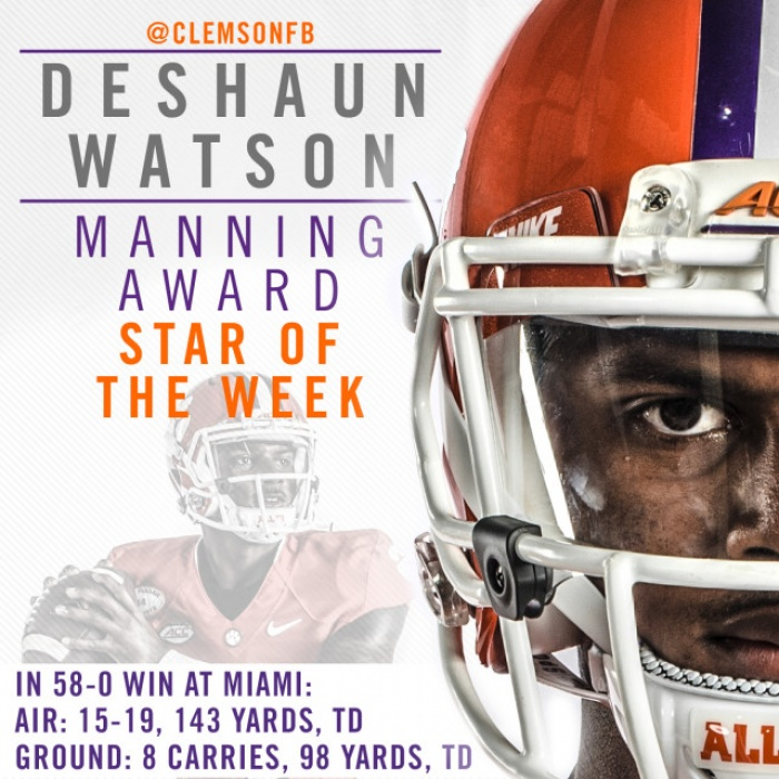Watson One of Eight Manning Stars of the Week