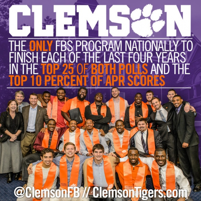 Clemson Football APR Among Top 10 for 5th Straight Year; Women's Golf and Diving also Recognized