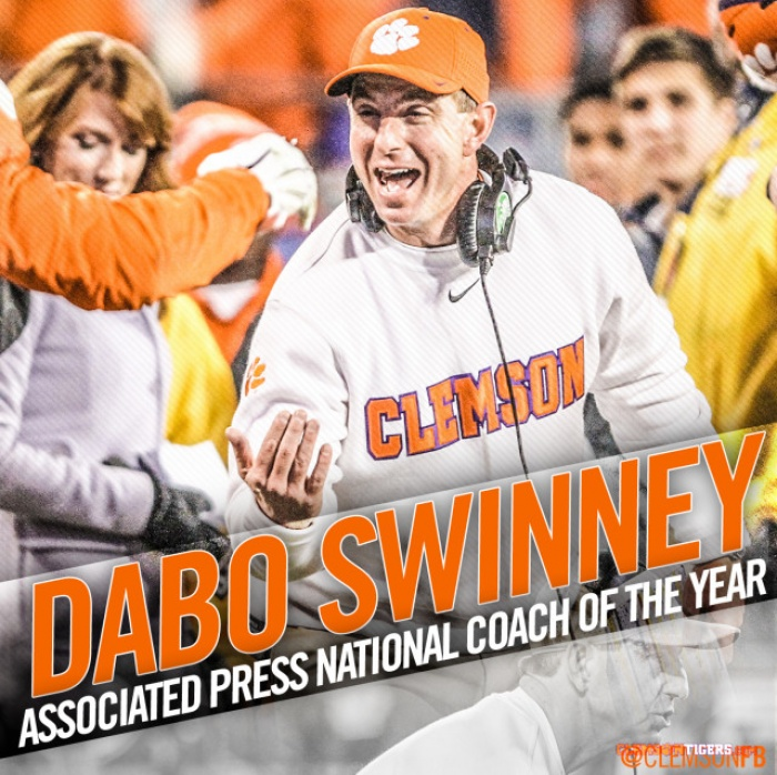 Swinney Named AP National Coach of the Year