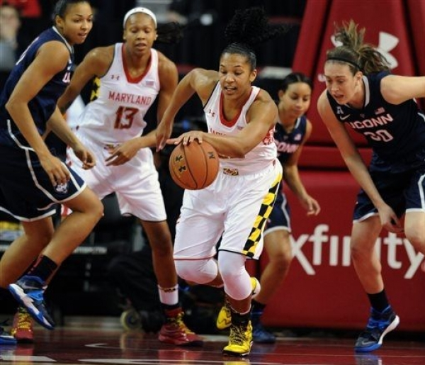 Alyssa Thomas scored 20 points and grabbed 14 rebounds in Maryland's loss to top-ranked UCONN.