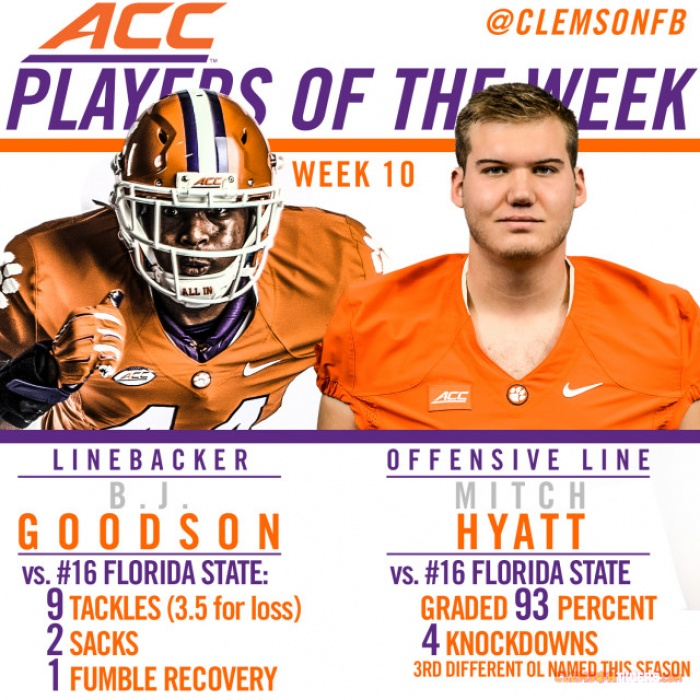 Hyatt, Goodson Named ACC Players of the Week