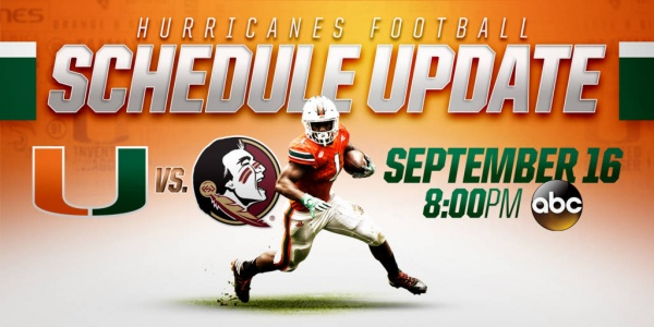 ACC, ESPN Announce Kickoff Time for Miami's Sept. 16 Game at Florida State