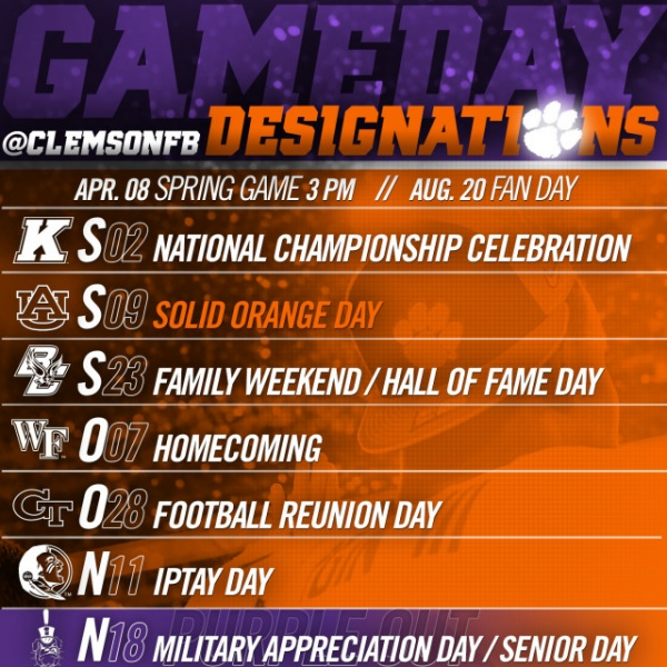 2017 Football Gameday Designations Announced