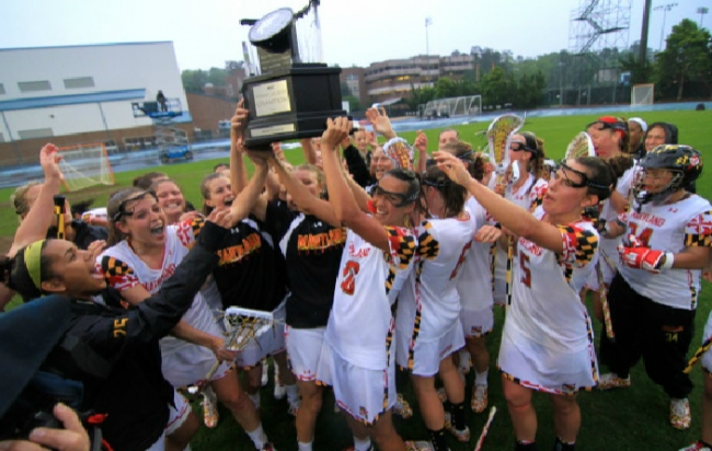 Maryland celebrates its fifth straight ACC title in women's lacrosse after a 12-8 victory over North Carolina in Chapel Hill.