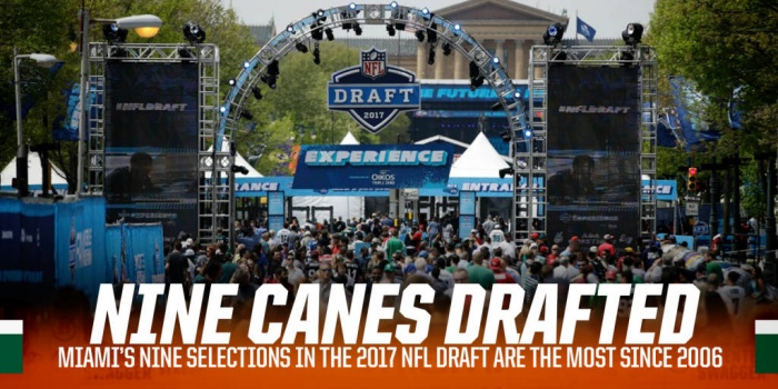Nine Hurricanes Selected in the 2017 NFL Draft