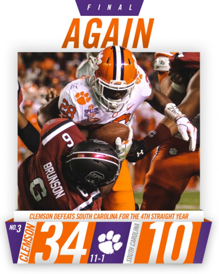 No. 3 Clemson Handles No. 24 South Carolina