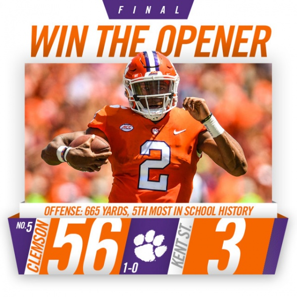 No. 5 Clemson Routs Kent State in Opener