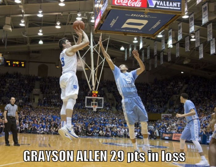 Grayson Allen Hits Big 3 Against The Tar Heels
