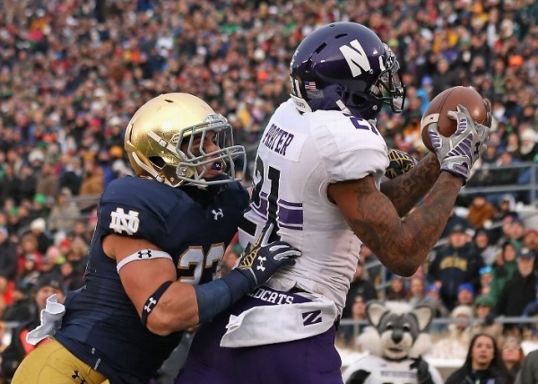 Notre Dame upset in overtime by Northwestern 43-40