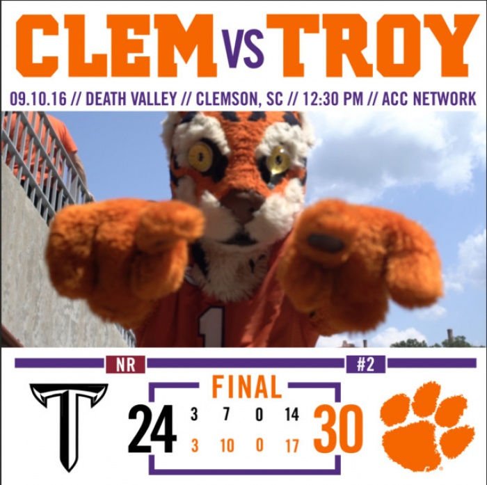 No. 2 Tigers Top Troy 30-24