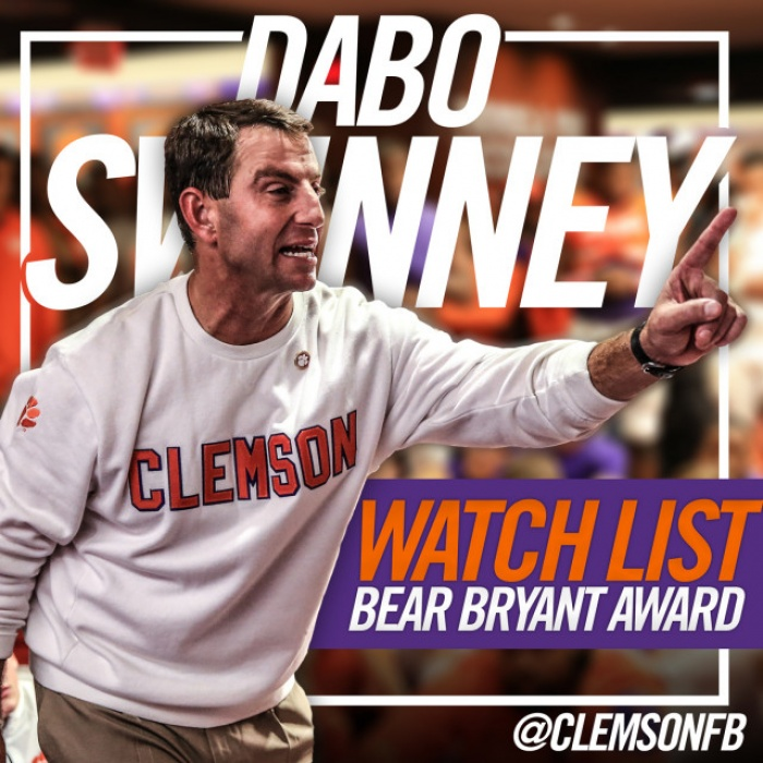 Swinney Named to Bryant Award Watch List