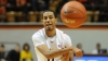 BLACKSBURG, Mar. 2-- Senior Night: Green passes the ball to teammate Robert Brown for a open shot.