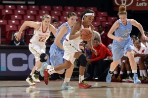 Lexie Brown earned praise from Brenda Frese for her defensive presence in No. 6 Maryland's 99-44 victory against Holy Family.