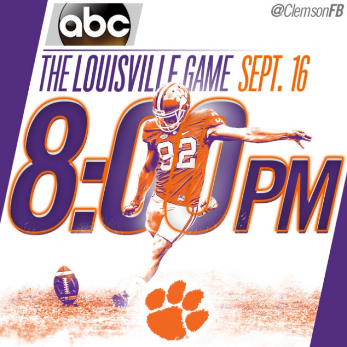 Clemson at Louisville Game Moved to 8 p.m. Kick