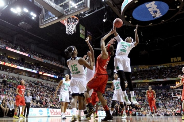 Maryland's size could not match Notre Dame's effort in the paint in Sunday's first national semifinal in Nashville.