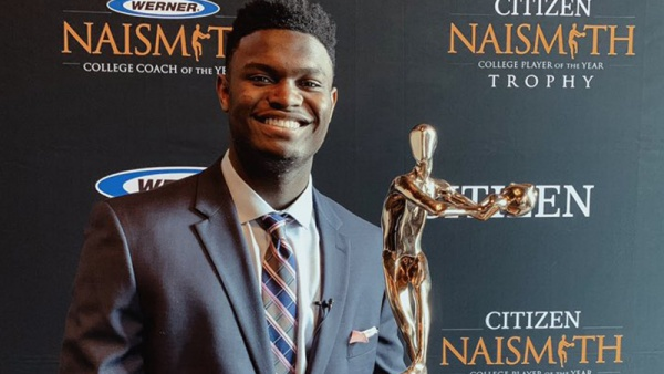 Zion Williamson Wins Citizen Naismith Trophy