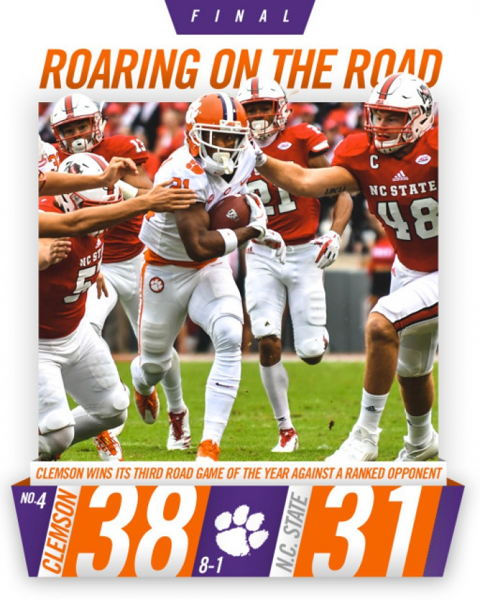 No. 4 Clemson Edges No. 20 NC State 38-31