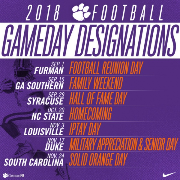 2018 Football Gameday Designations
