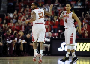 Maryland suffered a really frustrating loss earlier this week, but Seth Allen (4) and Dez Wells (32) helped the Terps loosen up and get a big win on Saturday.